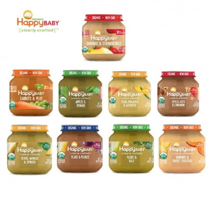 HAPPY BABY Stage 2 Crafted Jar (4oz) Apples Blueberries, Oats, Cinnamon Spinach Banana Sweet Potatoes Pear Mango