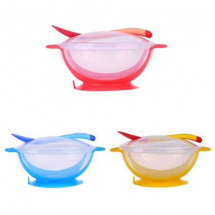 Baby Suction Bowl Cup with Lid + Spoon